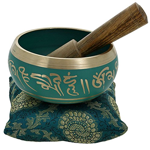 ShalinIndia Meditation Singing Bowl Buddhist Art Green Tibetan Dacor 4 Inch