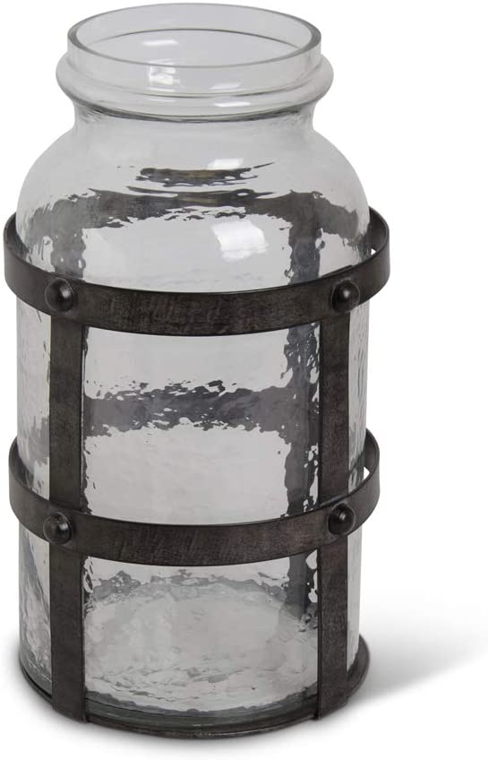 KK Interiors 16636A-1 12.5 Inch Textured High order Riveted Glass M Clearance SALE Limited time in Jar