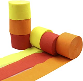 Orange Red Yellow Crepe Paper Streamer Rolls Hanging Party Decoration Total 490-Feet, 6 Rolls, Theme Party Streamer for Celebration DIY Art Project Supplies, Yellow Orange Red, by BllalaLab