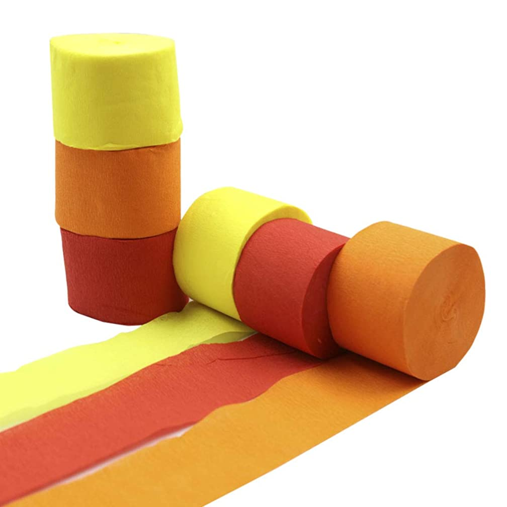 Crepe Paper Streamer Rolls Hanging Party Decoration Total 490-Feet, 6 Rolls, Theme Party Streamer for Wedding Bridal Baby Shower Birthday DIY Art Project Supplies, Yellow Orange Red, by BllalaLab