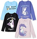 Spotted Zebra Disney Star Wars Marvel Princess Long-Sleeve Fashion-t-Shirts, 4er-Pack Frozen 2 Abenteuer, 5 Jahre