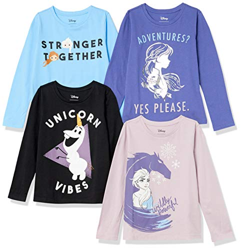 Spotted Zebra Disney Star Wars Marvel Princess Long-Sleeve Fashion-t-Shirts, 4er-Pack Frozen 2 Abenteuer, 6-7 Jahre