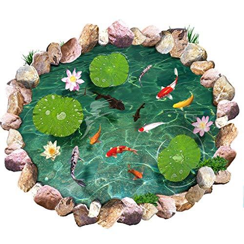 3D dreidimensionale grüne Goldfisch Teich Wandaufkleber Einkaufszentrum Quadrat Verdickung Bodenfolie verschleißfesten wasserdichte dekorative Boden Aufkleber Schlafzimmer selbstklebende Haushalt