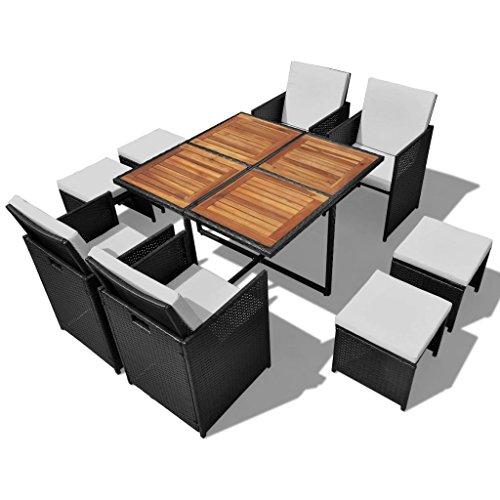 vidaXL Akazienholz Gartenmöbel 9-TLG. Gartenset Sitzgruppe Sitzgarnitur Gartengarnitur Gartentisch Tisch Esstisch Stühle Poly Rattan Schwarz