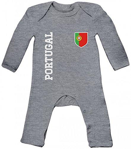 Wappen Fußball WM Fanshirt Gruppen Baby Strampler Langarm Schlafanzug Jungen Mädchen Fan Trikot Portugal, Größe: 12-18 Monate,Heather Grey Melange