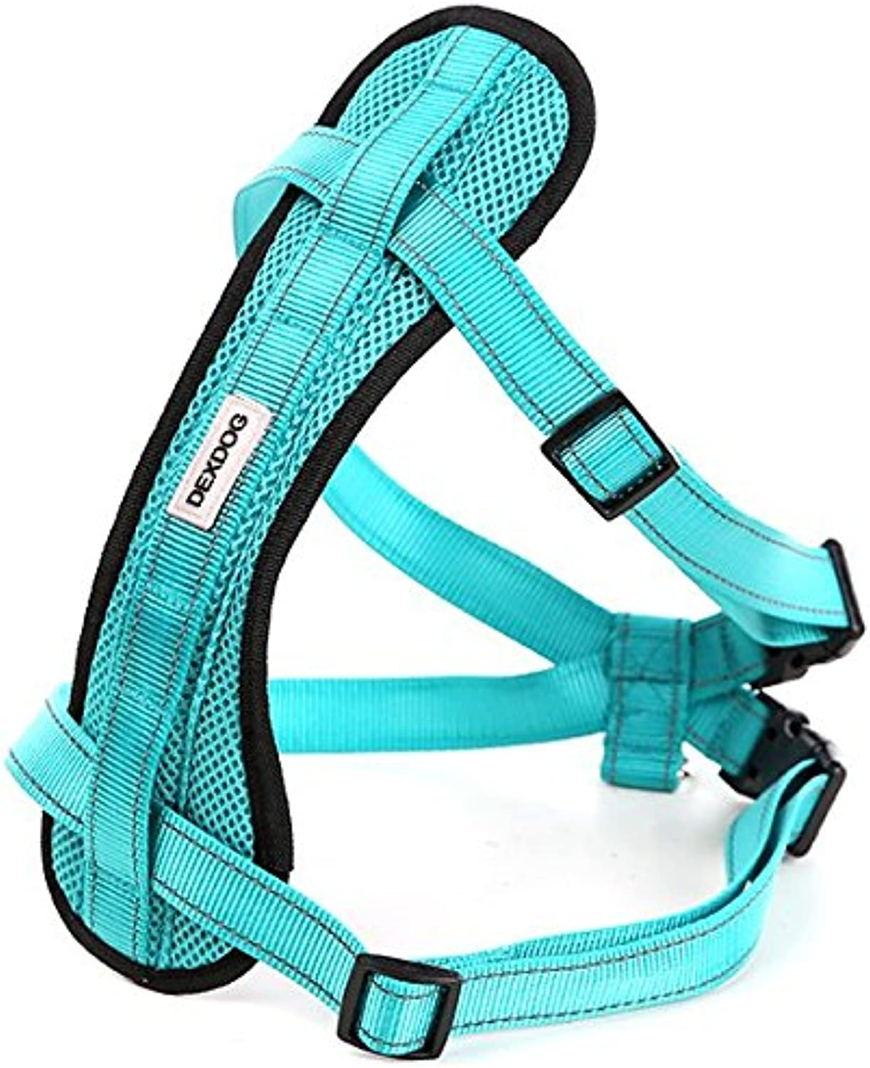 Chest Plate Harness by DEXDOG   Auto Car Safety Harness   Adjustable Straps, Reflective, Padded for Comfort   Best Dog Harness Small Large Dogs (Turquoise, Large)