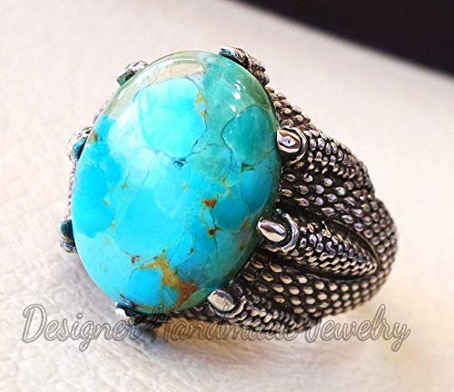 Natural tibetan turquoise men eagle clay ring sterling silver 925 blue color stone all sizes jewelry designer handmade ring, men's ring, men's anniversary ring, men's huge ring, signet ring