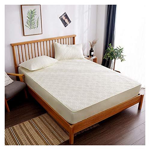 LJP Bedding Premium Protector De Colchón Comodidad Acolchada Más Gruesa Transpirable Cubre Colchón Absorción De Sudor Lavable (Color : Beige, Size : 150x200cm)