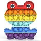 Bdwing Push and Pop Bubble Fidget Toy, Juguete Antiestres Educativo para aliviar el estrés, Necesidades Especiales silenciosas Aula para niños (Arcoiris Rana)
