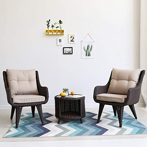 VBARV Semplici tavoli e sedie da Esterno da Cortile, 3 Pezzi di mobili da Giardino arredati con mobili da Esterno con Cuscino Set da bistrot in Vimini PE Sedia da Chat in Rattan e tavolino