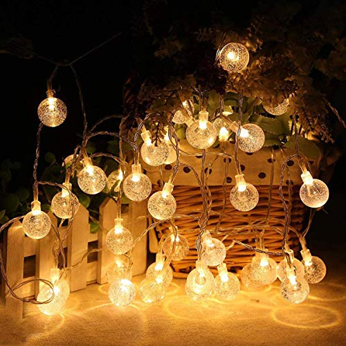 23ft 50 LED Globe Solar String Lights, E-POWIND Waterproof Crystal Clear Christmas Light - Solar/Battery Powered, Warm White, 8 Lighting Modes