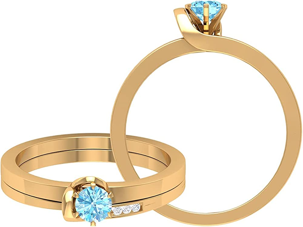 March Birthstone - 1 2 CT Ring Set SolitaireAquam with Enhancer Max 69% SEAL limited product OFF