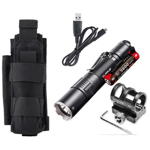 Klarus XT2CR Rechargeable Flashlight -CREE XHP35 HD E4 LED -1600 Lumens -Includes 3600mAh Battery w/GM02 Gun Mount +Tactical Holster