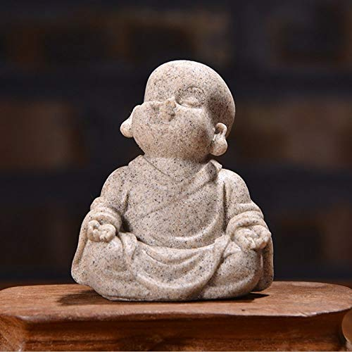 MIANJUMJ Estatua Escultura Pequeña Escultura,Pequeño Buda Monje Chino Escultura Tallada De Piedra Arenisca Natural Mini Estatua De Buda Estatua De Regalo para La Decoración del Hogar