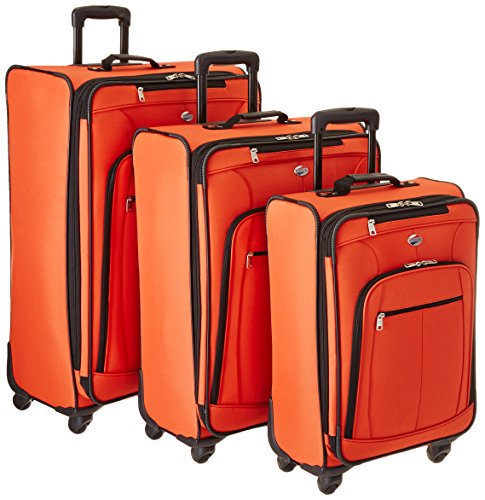 American Tourister Pop Plus 3-Piece Softside (SP21/25/29) Luggage Set with Multi-Directional Spinner Wheels, Orange