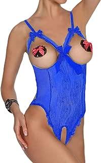 Eternatastic Women's One-Piece Cupless Bodysuit Crotchless Lingerie