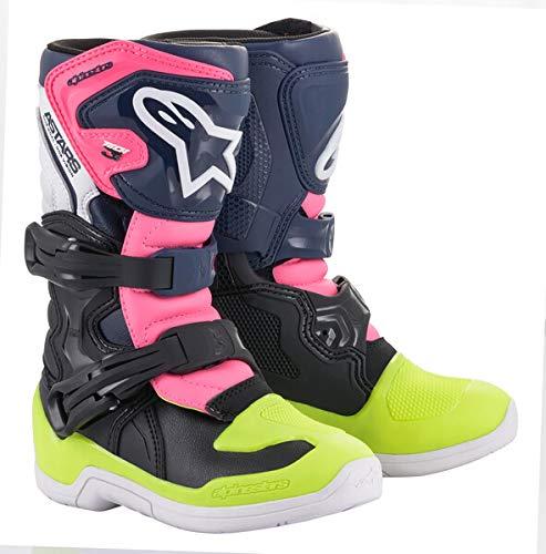 Alpinestars Youth Tech 3S Motocross Boot, Black/Dark Blue/Pink, 4