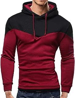 ZEFOTIM Men's Autumn Winter Patchwork Long Sleeve Hooded Sweatshirt Outwear Top Blouse