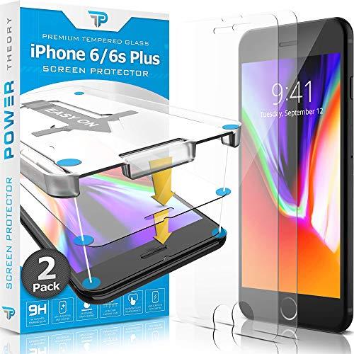 Power Theory Panzerglas kompatibel mit iPhone 6s Plus und iPhone 6 Plus [2 Stück] - Schutzfolie mit Schablone, Panzerglasfolie, Panzerfolie, Glas Folie, Bildschirmschutzfolie, Schutzglas