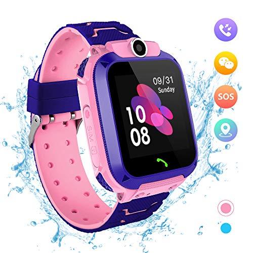 Reloj Inteligente para Niños - IP67 Impermeable LBS Tracker Reloj de Pulsera a Prueba Smartwatch de del Teléfono SOS Llamada Chat de voz Juego Cámara de Alarma de 3-14 Años Regalo Vumpleaños (Rosado)