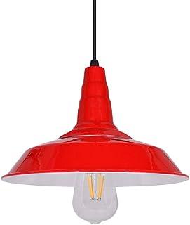 Plafonniers suspendus d'intérieur Vintage, plafonniers, abat-jour rouges, hauteur ajustable, base E27, éclairage blanc cha...