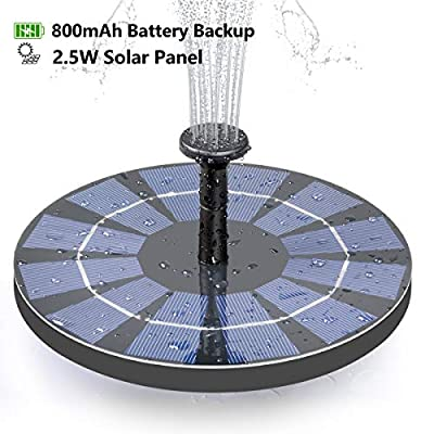 CONXWAN Solar Fountain for Bird Bath, 2.5W Solar Water Fountain Pump with 800mAh Battery Backup, Free Standing Solar Panel Kit Water Fountain for Garden, Pond, Pool, and Outdoor