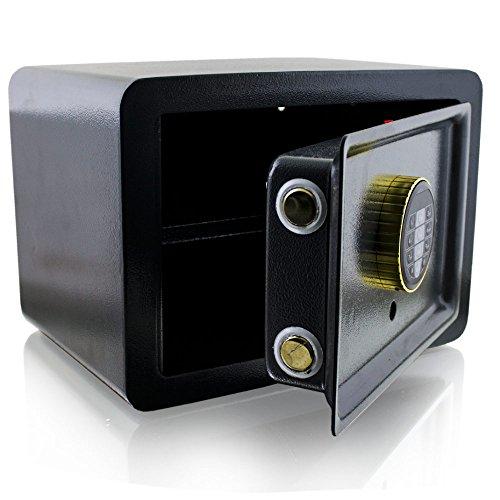 BITUXX® Design Safe Tresor elektronisch Minisafe Wandtresor Wandsafe Schranktresor Geldschrank Möbeltresor Geldsafe (Schwarz)