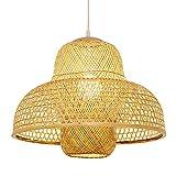 SHUANF Lámpara de araña de Tejido de bambú Natural Vintage Luces de Techo de cúpula de Mimbre Hechas a Mano Restaurante Bar Dormitorio del Hotel la Sala Estar Decorativa Altura Ajustable E27
