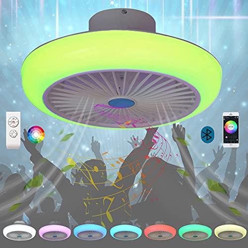 Lampara Techo Plafon LED Bluetooth Música Altavoz Colores RGB Regulable Ventilador Techo con Luz Mando a Distancia Silencioso Redondo Dormitorio Comedor Ventilador de Techo con Iluminación 72W