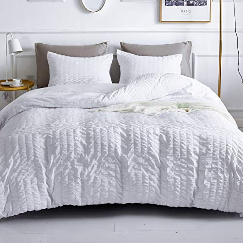 White Duvet Cover Queen Size, Seersucker Textured Duvet 100% Microfiber 3 Pieces Bedding Comforter Cover Sets, Soft and Breathable with Zipper Closure & Corner Ties, 90x90 inches