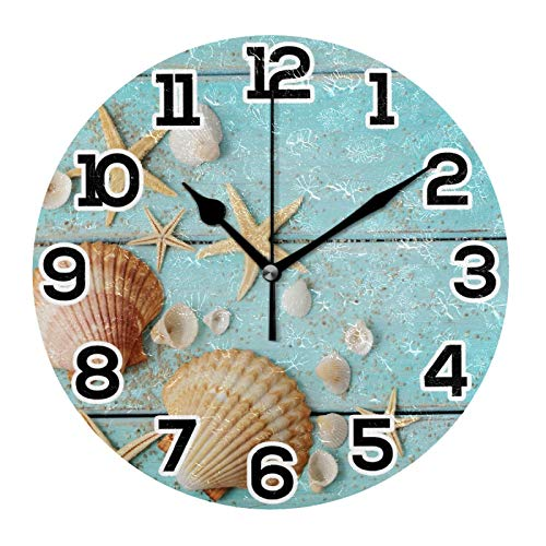 Wall Clock Sea Shells Star Fish Sand Blue Wood Board Round Acrylic Clock Black Large Numbers Silent Non-Ticking 9.45' Clock Decorative Retro Battery Operated Clock for Home School Hotel Library