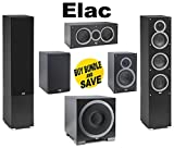 (1Pair) ELAC -Debut F5 Tower Speakers (Ea) + ELAC C5 Debut 5.25'...