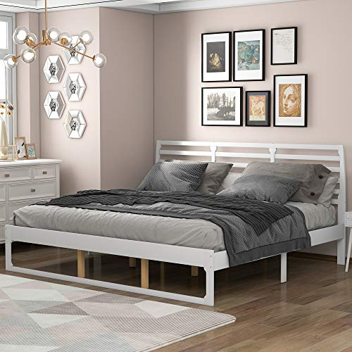 P PURLOVE Wood Platform Bed King Size Bed Frame with Headboard No Box Spring Needed, White