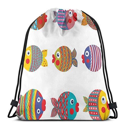 XCNGG Bolsas con cordón Bolsa de deporte para gimnasia Viaje, Puffers Pez sapo Colorido Familia de peces infantiles con patrones populares Guardería infantil