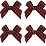 VIVIQUEN Gingham Craft Ribbon Bows Mini Checkered Ribbon Flowers Appliques for Sewing, Gif...