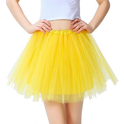 InnoBase Tutu Damenrock Tüllrock 50er Kurz Ballet 3 Layers Tanzkleid Zubehör für Frauen Mädchen 8 Farben (Helles Gelb)