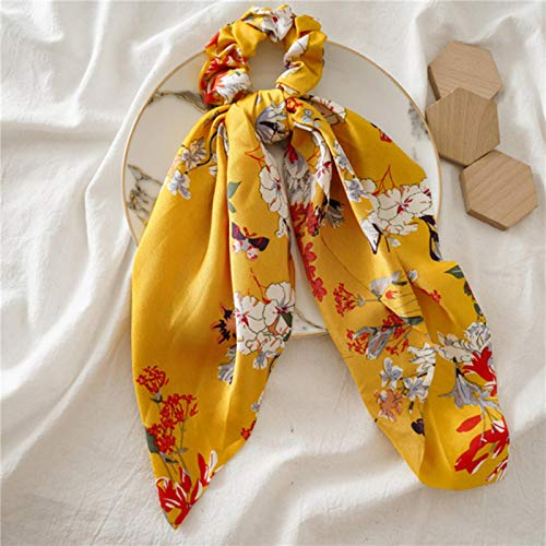 AQUALITYS Bohemio Big Flower Scrunchies Long Streamers Bow Hair Scarf Mujeres Niñas Sweet Hair Rope Ties Moda Accesorios para el Cabello Headwear