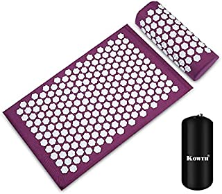 Acupressure Mat and Pillow Set, Kowth® Wellness Therapy Acupuncture Mats and Pillow for Back/Neck Pain Relief and Muscle Relaxation, Sciatic Pain, Insomnia, Comes in a Carry Bag (Purple)