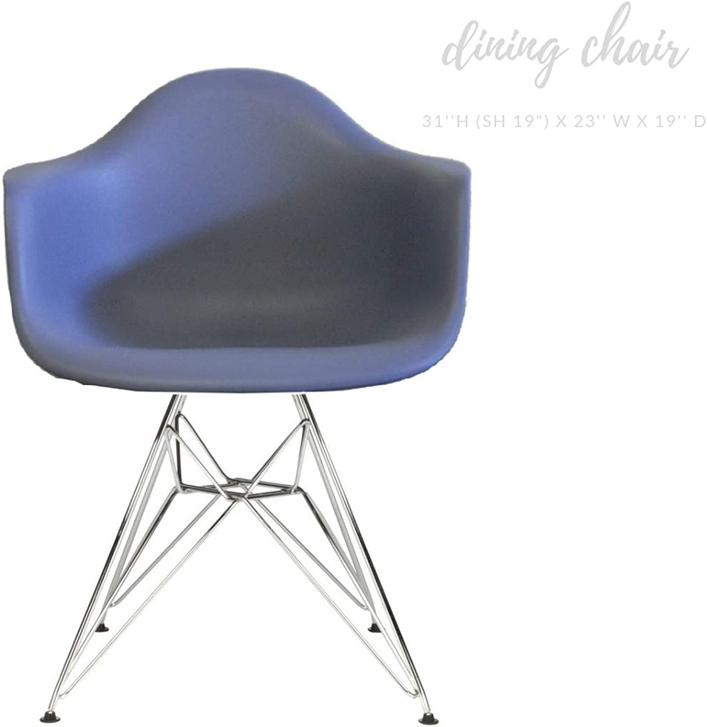 Take Me Home Furniture Eiffel Style Bucket Chair with Chrome Legs, Dark Grey, Dining Chair