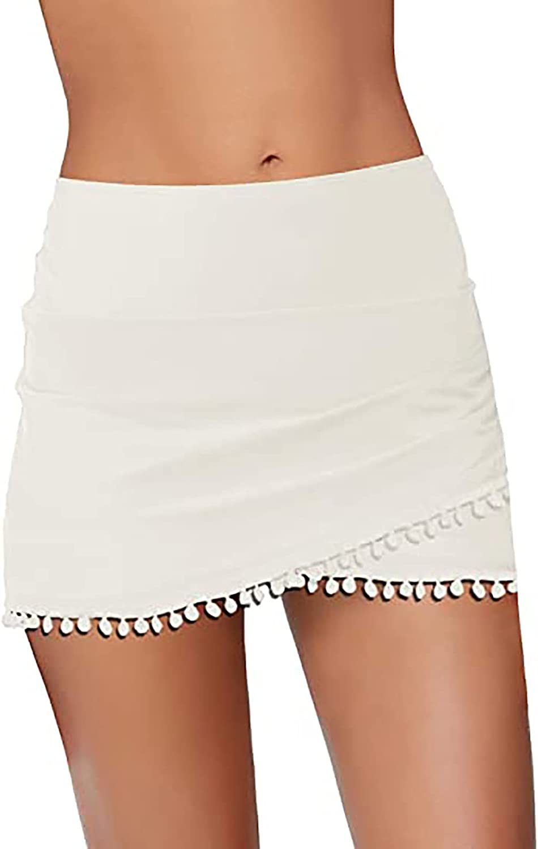 Women Bikini Bottom Tankini Swim Skirt Short Hulip Hem Skirt High Waisted Tummy Control Swimsuits with Tassel for Beach