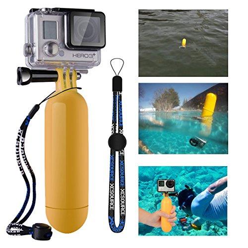 XCSOURCE gelbes Einbeinstativ für die Benutzung im Wasser, mit Auftriebshilfe, Handschlaufe, schwimmendem Handgriff und Befestigungsset für GoPro Hero 233+ (Gelb)