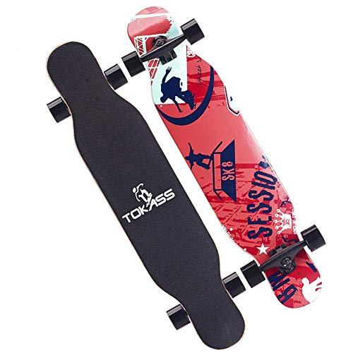 Longboards Skateboards, Anfänger Maple Wood Classic Skateboard für Jugendliche Erwachsene Mädchen Jungen Kinder, 107x26x11.5CM, fliegendes Geschenk
