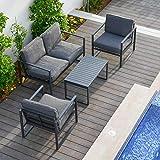 OUTLIV. Sydney Loungeecke 4tlg. aus Aluminium/Polster Gartenlounge in Anthrazit/Grau Outdoor Gartenlounge Set