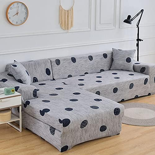 Funda de sofá con patrón geométrico Fundas de sofá elásticas para Sala de Estar Funda de sofá en Esquina Forma de L Necesita Comprar 2 Piezas Fundas A17 4 plazas