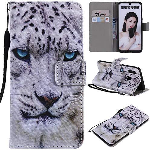 nancencen Kompatibel mit Handyhülle Huawei Honor 10 Lite/P Smart 2019 / Nova Lite 3 Hülle, Painted Tier PU Leder Tasche Schutzhülle Hülle [Weiß Leopard]