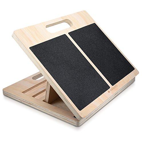 Navaris Stretch Board Waden Training - Fuß Stretcher Wadenstrecker - Dehnen von Oberschenkel Zehen - Anti-Rutsch Dehn-Board für max. 150kg aus Holz