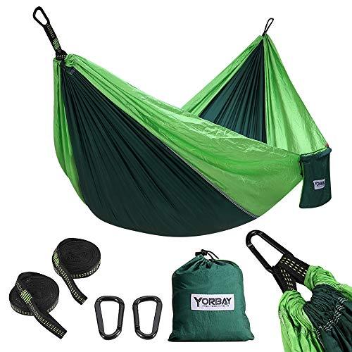 Yorbay Hängematte, 300kg Tragkraft(270 x 140cm), mit 2 x Premium Karabiner, 2 x Nylon-Schlingen Inbegriffen, Tasche für Außenbereich, Garten, Camping, Ausflug (Mehrweg)