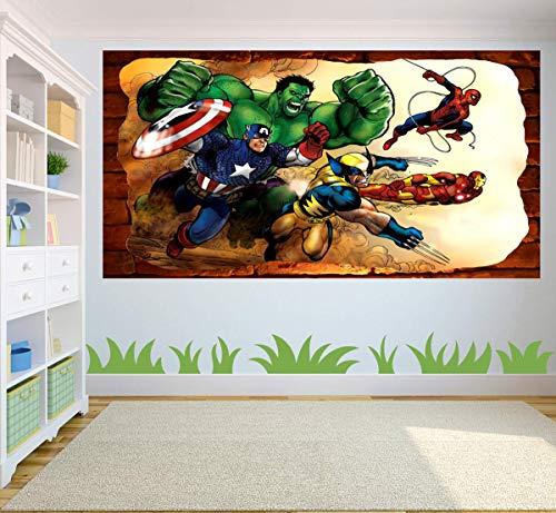 Kids Cartoon Marvel Super War 3D Smashed Wall Removable Wall Sticker Poster Mural Art UK (90 x 65 cm)