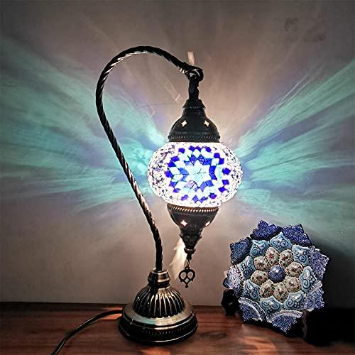Lámpara de mesa de mosaico colorida marroquí turca,lámpara nocturna de la mesita de noche de escritorio hecho a mano del cuello de cisne,la base de bronce para la bulbo sala de estar incluida-azul