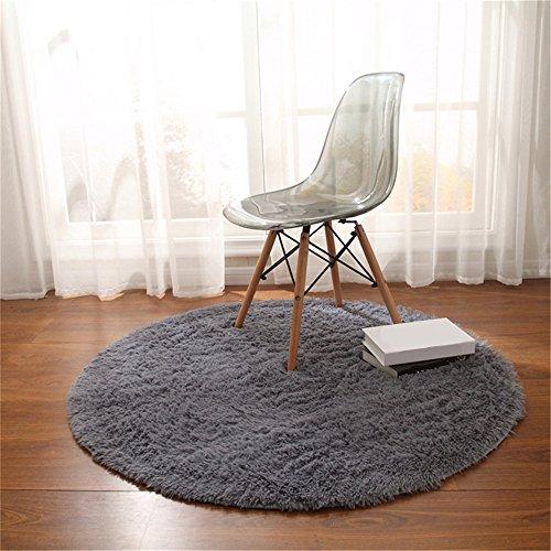 CAMAL Teppich, Runde Seide Wolle Material Yoga Teppich für Wohnzimmer Schlafzimmer und Bad (Grau, 200cm)